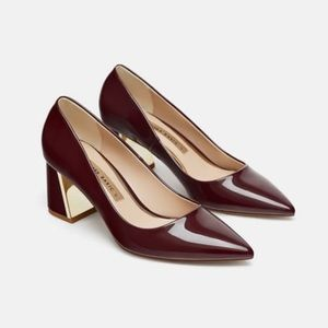 Zara patent leather block heels euro size 39